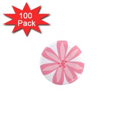 Pink Lily Flower Floral 1  Mini Magnets (100 Pack)