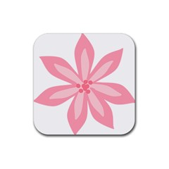 Pink Lily Flower Floral Rubber Square Coaster (4 Pack)