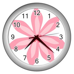Pink Lily Flower Floral Wall Clocks (silver)