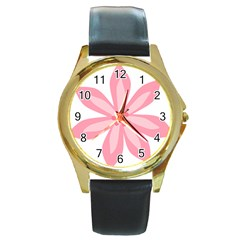 Pink Lily Flower Floral Round Gold Metal Watch