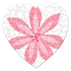 Pink Lily Flower Floral Jigsaw Puzzle (heart)