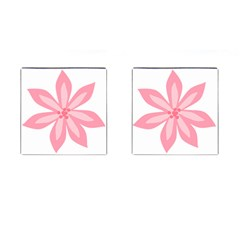 Pink Lily Flower Floral Cufflinks (square)
