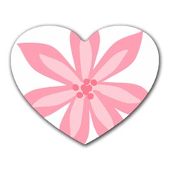 Pink Lily Flower Floral Heart Mousepads