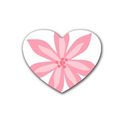 Pink Lily Flower Floral Heart Coaster (4 pack)