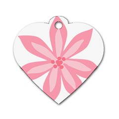 Pink Lily Flower Floral Dog Tag Heart (One Side)