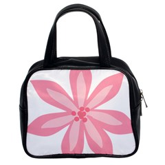 Pink Lily Flower Floral Classic Handbags (2 Sides)
