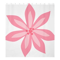 Pink Lily Flower Floral Shower Curtain 66  x 72  (Large)