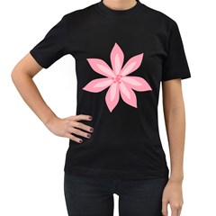 Pink Lily Flower Floral Women s T-Shirt (Black)