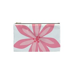 Pink Lily Flower Floral Cosmetic Bag (small)