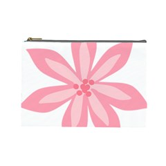 Pink Lily Flower Floral Cosmetic Bag (Large)