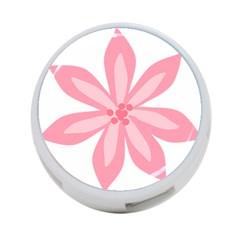 Pink Lily Flower Floral 4-Port USB Hub (One Side)
