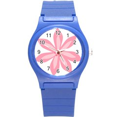 Pink Lily Flower Floral Round Plastic Sport Watch (S)