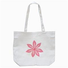Pink Lily Flower Floral Tote Bag (White)