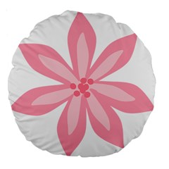 Pink Lily Flower Floral Large 18  Premium Flano Round Cushions