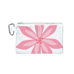 Pink Lily Flower Floral Canvas Cosmetic Bag (S)
