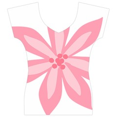 Pink Lily Flower Floral Women s V-Neck Cap Sleeve Top