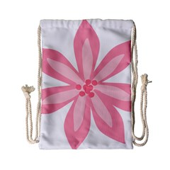Pink Lily Flower Floral Drawstring Bag (Small)