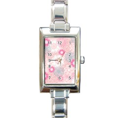Flower Floral Sunflower Rose Pink Rectangle Italian Charm Watch