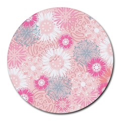 Flower Floral Sunflower Rose Pink Round Mousepads