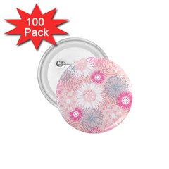 Flower Floral Sunflower Rose Pink 1.75  Buttons (100 pack)