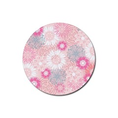Flower Floral Sunflower Rose Pink Rubber Round Coaster (4 pack)