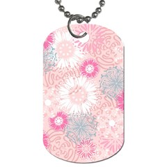 Flower Floral Sunflower Rose Pink Dog Tag (Two Sides)