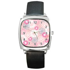 Flower Floral Sunflower Rose Pink Square Metal Watch