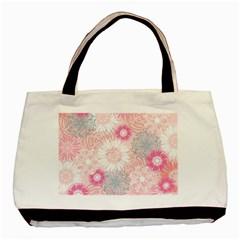 Flower Floral Sunflower Rose Pink Basic Tote Bag (Two Sides)