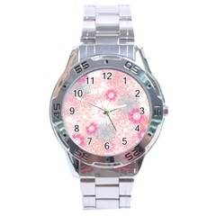 Flower Floral Sunflower Rose Pink Stainless Steel Analogue Watch