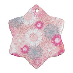 Flower Floral Sunflower Rose Pink Snowflake Ornament (Two Sides)