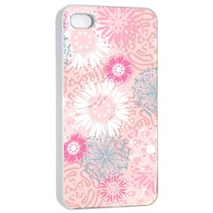 Flower Floral Sunflower Rose Pink Apple iPhone 4/4s Seamless Case (White)
