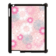 Flower Floral Sunflower Rose Pink Apple iPad 3/4 Case (Black)