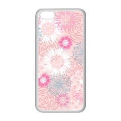 Flower Floral Sunflower Rose Pink Apple iPhone 5C Seamless Case (White)