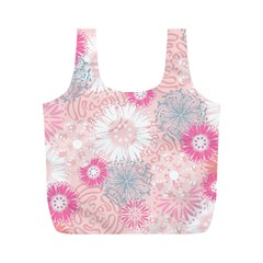Flower Floral Sunflower Rose Pink Full Print Recycle Bags (M)