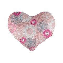 Flower Floral Sunflower Rose Pink Standard 16  Premium Flano Heart Shape Cushions