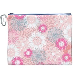 Flower Floral Sunflower Rose Pink Canvas Cosmetic Bag (XXXL)