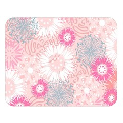 Flower Floral Sunflower Rose Pink Double Sided Flano Blanket (Large)