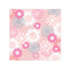 Flower Floral Sunflower Rose Pink Small Satin Scarf (Square)
