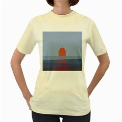 Sunrise Purple Orange Water Waves Women s Yellow T-Shirt