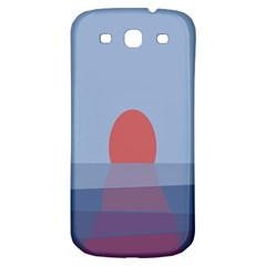 Sunrise Purple Orange Water Waves Samsung Galaxy S3 S III Classic Hardshell Back Case