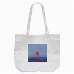 Sunrise Purple Orange Water Waves Tote Bag (White)
