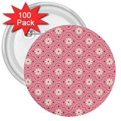 Pink Flower Floral 3  Buttons (100 pack)