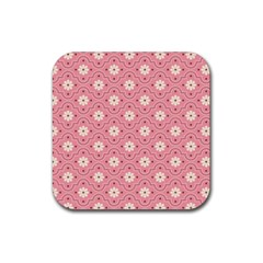 Pink Flower Floral Rubber Square Coaster (4 pack)