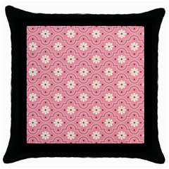 Pink Flower Floral Throw Pillow Case (Black)