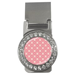 Pink Flower Floral Money Clips (CZ)