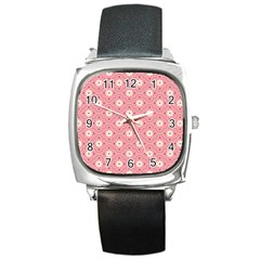 Pink Flower Floral Square Metal Watch