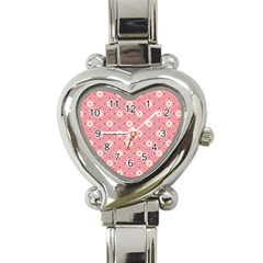 Pink Flower Floral Heart Italian Charm Watch