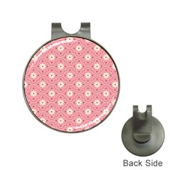 Pink Flower Floral Hat Clips With Golf Markers