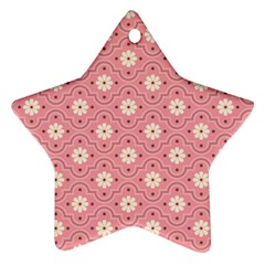 Pink Flower Floral Star Ornament (Two Sides)