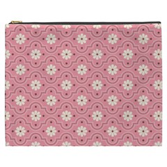 Pink Flower Floral Cosmetic Bag (xxxl)